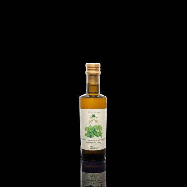 Huile d'olive extra vierge aromatisée au Basilic <p>D'origine indienne, mais d'adoption méditerranéenne, le basilic est l'un des ingrédients symboliques de la cuisine italienne. L'huile au basilic est un antistress absolu et antimicrobe, favorise la digestion et donne un parfum d'été à tous les plats. Format: 0.25L</p>